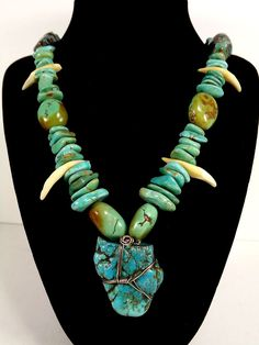 Turquoise Nugget Necklace 186 grams Wire Wrapped Random Sizes  #turquoisenuggetnecklace #turquoisenecklace