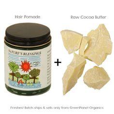 2LB (32oz) Raw Fresh Cocoa Butter +1 Nature's Blessing Hair Pomade - http://essential-organic.com/2lb-32oz-raw-fresh-cocoa-butter-1-natures-blessing-hair-pomade/