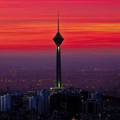 Tehran Iran, Tiger Art, Iranian, Seattle Skyline, Tower, Ocean, Spaces, Sunset, Country
