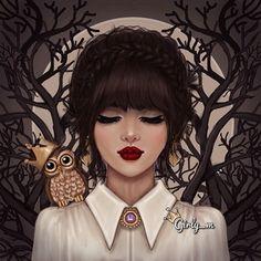 owl, drawing, and girly_m image Girly M Instagram, Sarra Art, Cute Girl Drawing, Drawing Girls, Girly Drawings, Digital Art Girl, Cartoon Art, Cute Art, Anime Art
