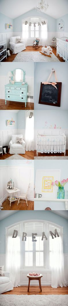 Pale blue & white nursery with touches of pink for a baby girl: yellow instead of pink.