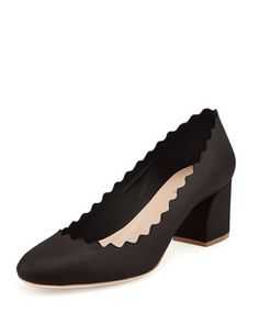 Scalloped Leather Pump, Black by Chloe at Neiman Marcus.