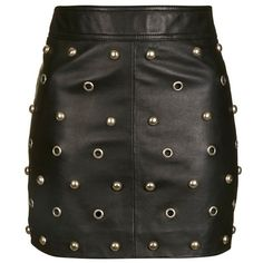Women's Topshop Stud & Grommet Leather Miniskirt ($180) ❤ liked on Polyvore featuring skirts, mini skirts, bottoms, saias, punk mini skirt, high waisted leather mini skirt, embellished mini skirt, leather miniskirt and leather skirt