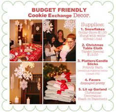 The Busy Budgeting Mama: My Cookie Exchange Party-The Fun & Festive Details! Cookie Exchange Party, Christmas Cookie Exchange, Fun Cookies, Christmas Cookies, Christmas Tea, Peanut Blossoms, Peanut Butter Cup Cookies, Christmas Table Cloth, Cookie Swap