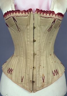 Red Embroidered Grey Corset, 1880s - Lot 198 $287.50