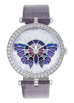 Van Cleef & Arpels 'Lady Arpels Papillon Extraordinaire' with white gold case and bezel set with diamonds. Dial features sculpted mother-of-pearl, lapis lazuli, plique-à-jour enamel and diamonds. Numbered edition and permanent collection. Van Cleef Arpels, Cool Watches, Watches For Men, Ladies Watches, Women's Watches, Lapis Lazuli, Madame Butterfly, By Any Means Necessary, Skeleton Watches