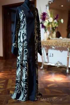 Al Mazyoona Black Abaya Gold Embroidery Dubai Arabic by Almazyoona