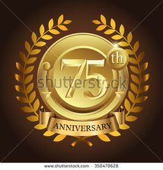75th golden anniversary wreath ribbon logo - stock vector