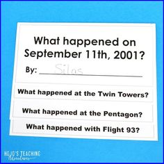 Having not been alive when the attacks occurred on Sept. 11, it can be hard for students to fully process what happened on 9/11. Help students fully understand the different areas of the country that were directly affected - the Twin Towers, the Pentagon, and Flight 93, plus the 9-11 Memorial. It's a great way to synthesize all they learn on this historic day. #UpperElementary #PatriotsDay #SecondGrade #ThirdGrade #FourthGrade #FifthGrade #SixthGrade #September11 #Education Fifth Grade, Second Grade, Remembering September 11th, Flight 93, Reading Recovery, Ell Students, Map Skills, 3rd Grade Classroom, Special Education Teacher