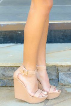 Elevate Me Wedge-Nude Red Dress Boutique Love these wedges!