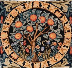 Morris Orange Tree is an artisan crafted French jacquard tapestry cushion cover. The image is a reproduction of a well known tapestry design - The Orange Tre Tree Tapestry, Tapestry Wall Hanging, Tapestry Fabric, Pillow Fabric, Wall Hangings, Art Nouveau, William Morris Art, Medieval, Art And Craft