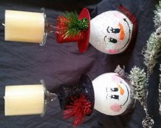 Party snowman wine glass candle holder