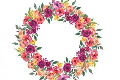 Watercolor Marsala and Orange Floral Wreath Clipart By Patishop Art