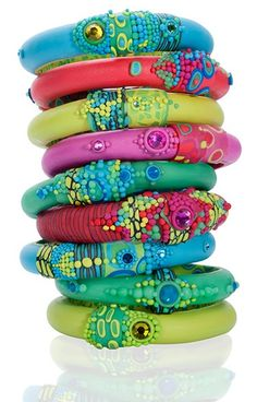 Polymer clay stacking bangles.  Beautiful, bright colors.
