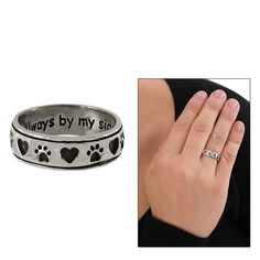 Always By My Side Paw Sterling Ring - Every Purchase Funds Food and Care for Rescued Animals.