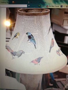 Decoupage lamp shade with pages from their favorite books (the ones that have already fallen apart)
