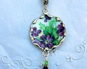 Broken China Jewelry, Round Pendant Necklace, Colclough Bone China England , Violets purple flowers, Sterling Silver Chain