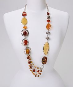 Take a look at this Amber Long Beaded Necklace by Treska on #zulily today!