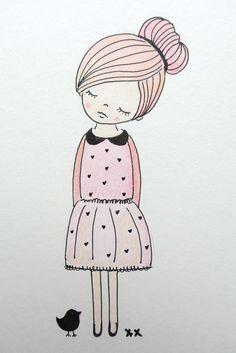 girls room illustration | kinderkamer illustratie | kids room www.kinderkamervintage.nl