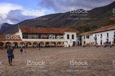Villa de Leyva, Colombia: Eastern corner of 16th Century plaza royalty-free stock photo