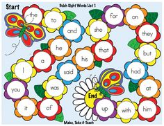 Spring themed sight word game boards in 4 colorful designs.  Black and white versions too!