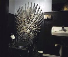 """Iron Throne toilet lets you rule the bathroom The Iron Throne toilet isn't forged from the commodes of your conquered foes, but it does replicate the look of the king's chair from """"Game of Thrones."""""""