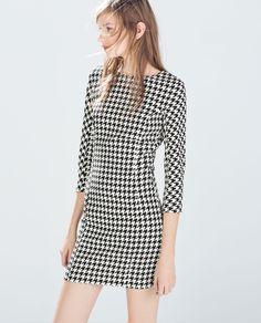 0d988f2b ROBE TUBE PIED-DE-POULE 39,95 Houndstooth Dress, Zara Women,