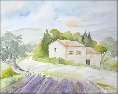 Felder in der Provence - Aquarell - 24 x 30 cm - Original