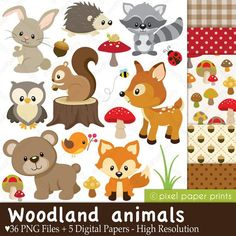 Woodland Animals - Clip art and Digital paper set Animales del bosque Set of clip art and papeles by Planner Stickers, Forest Animals, Woodland Animals, Farm Animals, Woodland Nursery, Diy Bebe, Print And Cut, Baby Quilts, Art Images