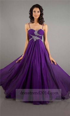 Purple Long Sequined Prom Dresses With Thin Straps