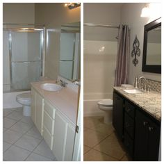 Inexpensive bathroom remodel.  We painted the existing cabinet, replaced the countertop with a granite remnant, new mirror, new light fixtures, new hardware, new faucet, and a fresh coat of paint.  All the materials were under $1000 and we did all the labor ourselves.  Big change!