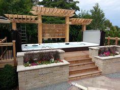 Beautiful Swim Spa Install with cedar pergola