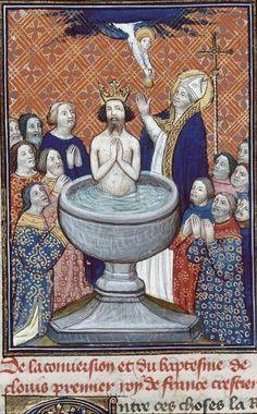 Baptême de Clovis. Auteur: Gundisalvus de Hinojosa. Titre: Chroniques de Burgos. Datation 14e s. (fin) ou 15e s. (début). Besançon - BM - ms. 1150.