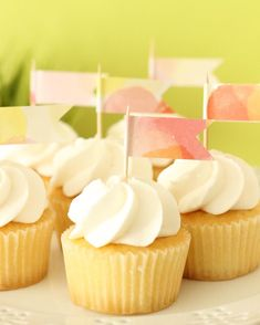 Making all those leftover Easter treats look darling! Shop at ConfettiDots Shop at https://www.etsy.com/listing/190318205/12-cupcake-topper-flags-food-labels?ref=shop_home_feat_1 #intheshop #etsy #cupcake #frosting #cake #cakedecorating #engagement #weddingideas…