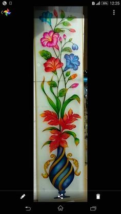 Flower Pot Design For Glass Glass Etching Designs, Glass Painting Designs, Stained Glass Designs, Modern Stained Glass Panels, Stained Glass Door, Window Glass Design, Front Door Design Wood, Steel Gate Design, Pooja Room Door Design