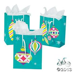Small Bright Christmas Gift Bags- $5 a dozen at Oriental Trading Company