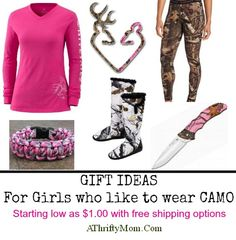 Gift ideas for the girl who likes to wear camo... PINK CAMO AND HUNTING GEAR ~ GIFT IDEAS FOR THE OUTDOORS WOMAN