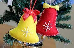 10 Modelos de Campanas navideñas Hechas en fieltro Con molde para imprimir12