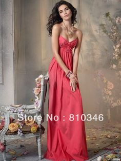 Princess Ruched Taffeta Coral Bridesmaid Dresses Empire Waist Long Dress $109.99