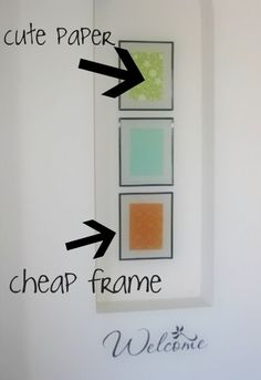 Frame Scrapbooking Paper - can also place the scrapbooking paper as a mat for your photo Cheap Wall Art, Homemade Paint, Craft Projects, Craft Ideas, Decorating Ideas, Decor Ideas, Cardmaking And Papercraft, Hanging Pictures, Humble Abode