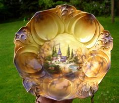 R.S. PRUSSIA CASTLE SCENE BERRY SERVING BOWL. Sold $410