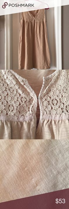 J.Crew Cotton Tank Dress BNWOT J.Crew cotton tank dress with lace keyhole neckline detail. One small factory defect on back-- BARELY noticeable. Creamy beige color-- like milky coffee. Accepting offers! J. Crew Dresses Midi
