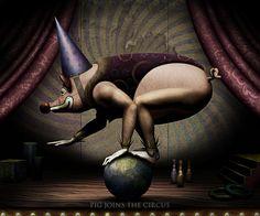 David Ho (Pig Series) Pig Joins Circus