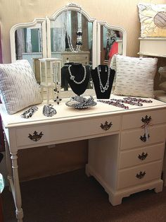 5 Dr White Paint Vintage Vanity Desk with Mirror by CURIOSITYNC, $295.00