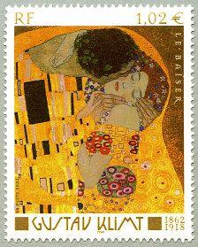 Gustav Klimt 1862-1918 «Le baiser» - Timbre de 2002