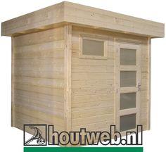 Tuinhuisje / blokhut  met plat dak model Kuifmees met afmetingen 250 x 250 cm van Woodvision Garage Doors, Shed, Outdoor Structures, Outdoor Decor, Model, Home Decor, Gardens, Wine Cellars, Shed Houses