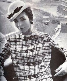 Hat by Halston, Checkered wool suit by Gustav Tassell, Harper's Bazaar, Febr 1964