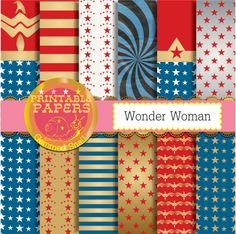 Superhero digital paper 'Wonder Woman' inspired red white blue gold stars and stripes patterns x 12