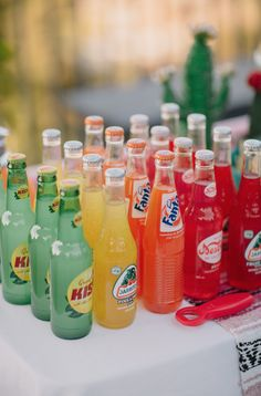 Make a soda rainbow at your next BBQ or backyard party!