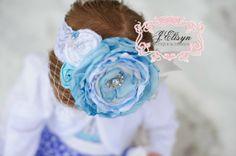 "white baby blue silver vintage OTT handmade flower headband-  ""Ice Princess"" holiday winter vintage headband - OTT size headband on Etsy, $30.00"